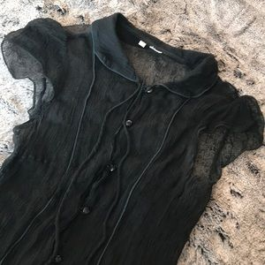 Black Urban Outfitters Sheer Button Down Top